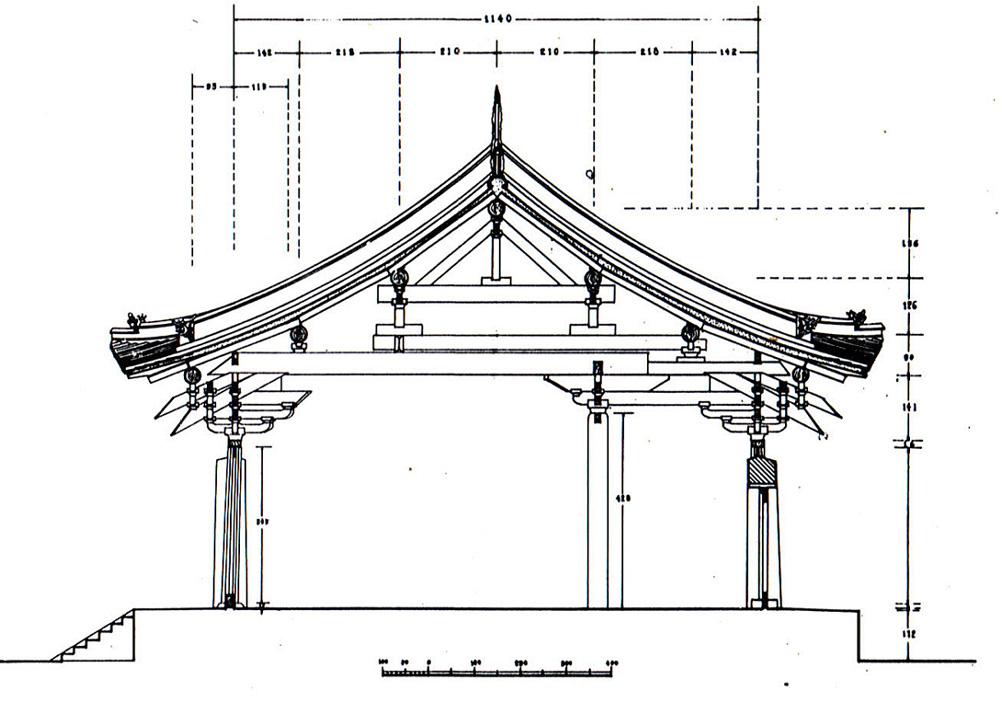 贴个线条图:开化寺横剖面,来自柴泽俊古建筑文集
