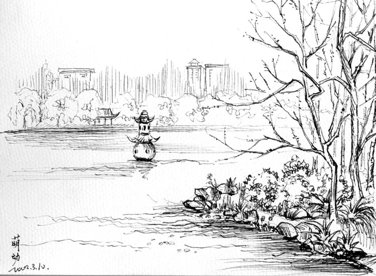 校园广场手绘图线稿