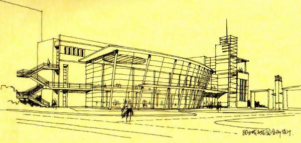 现代建筑速写手绘图片