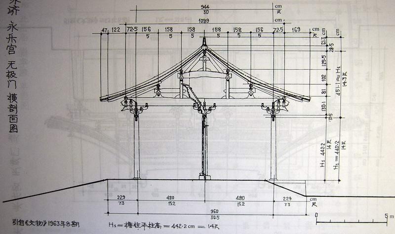 二层古建筑剖面结构图