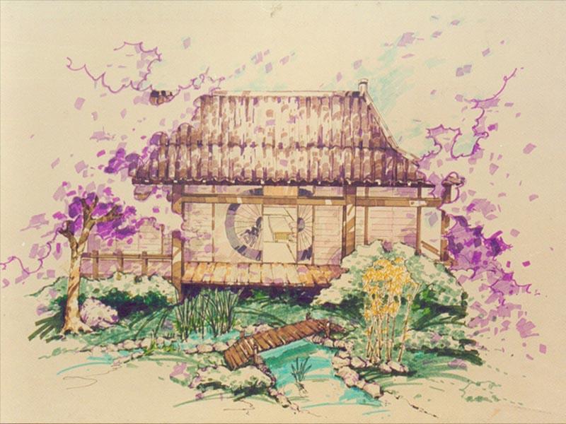 水粉渲染手绘建筑