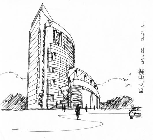铅笔手绘建筑速写