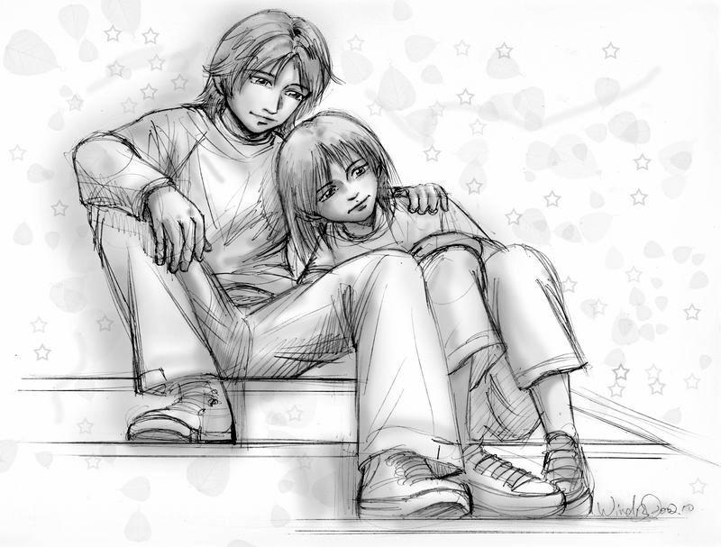 线条漫画爱情简笔画