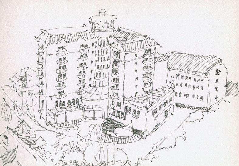 广场鸟瞰图手绘线稿