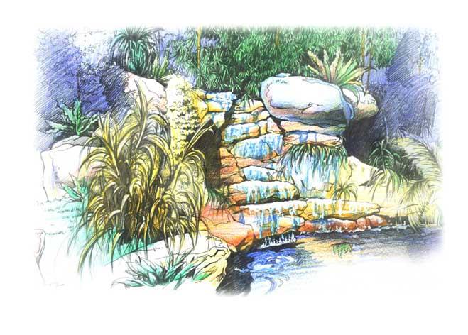 彩铅手绘插画风景火车