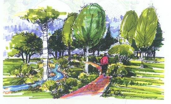 公园一点透视手绘图