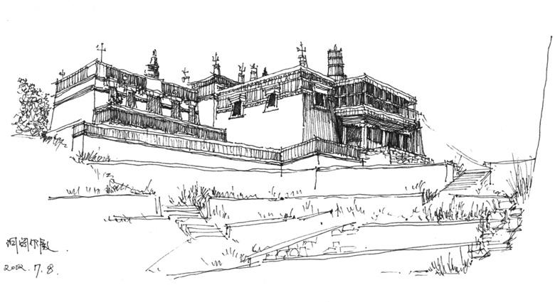 建筑扭曲手绘作业