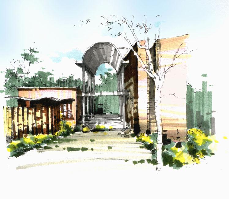 手绘 风景建筑画