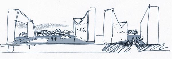 广场设计手绘铅笔