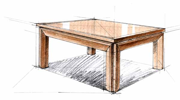 手绘二点透视画餐桌图