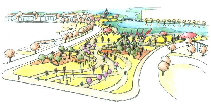 一组手绘园林设计图