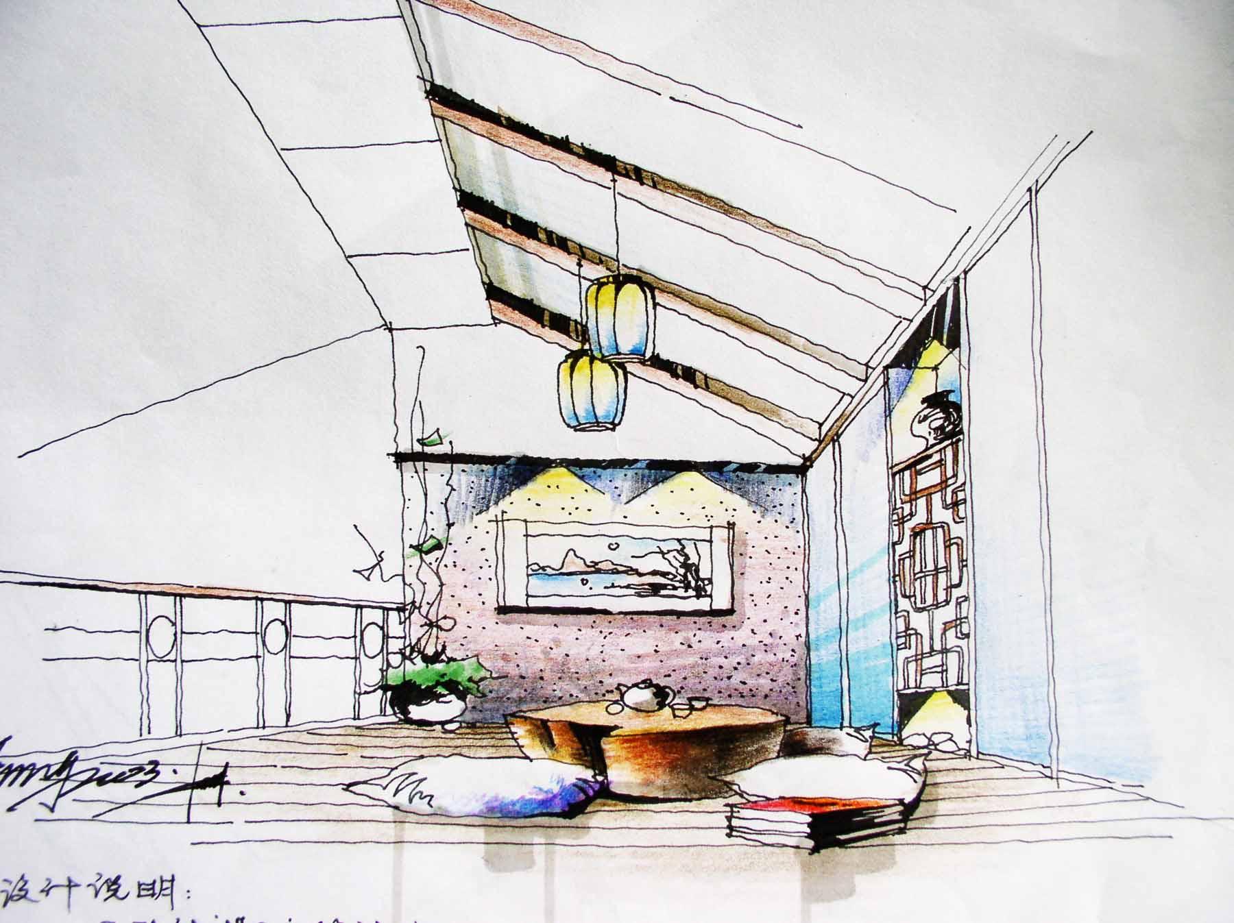 建筑单体手绘渲染