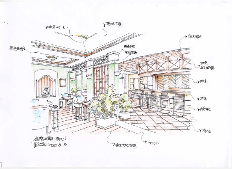 校园餐厅手绘效果图