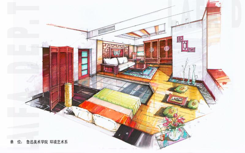 茶馆室内效果图手绘