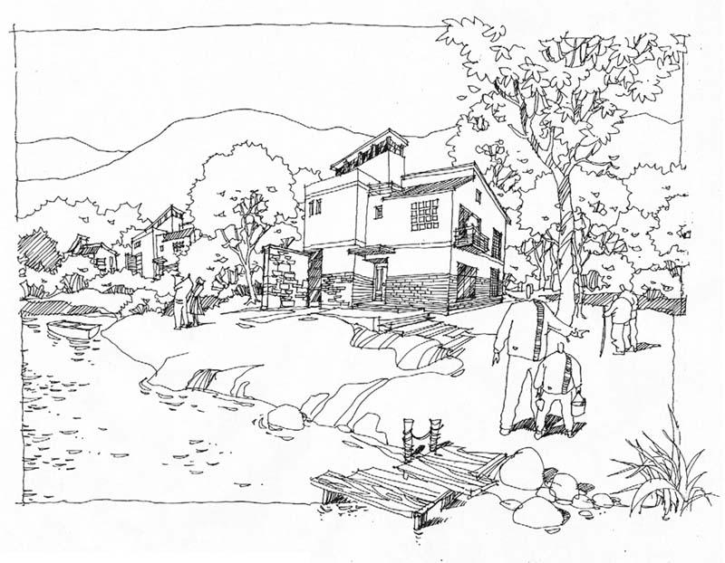 广场鸟瞰图手绘钢笔