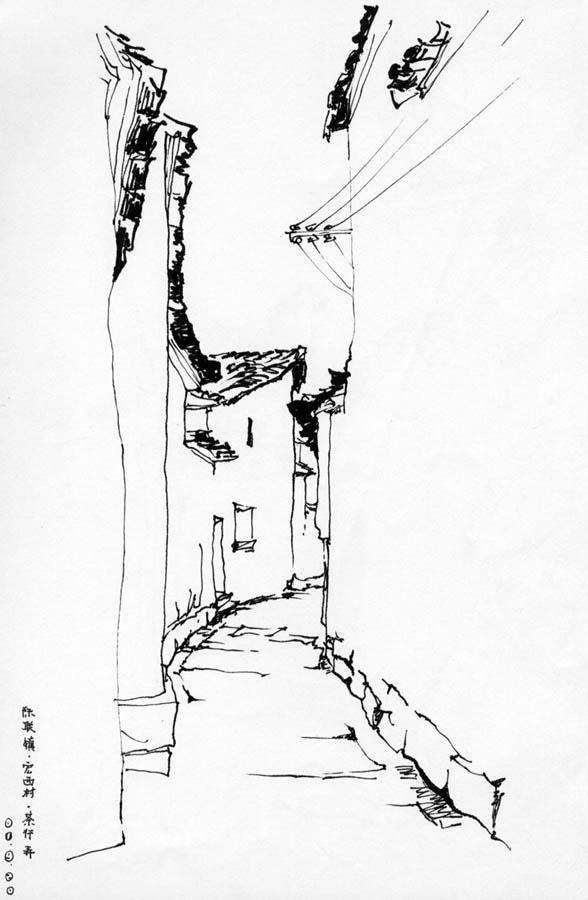 徽派建筑建筑钢笔画